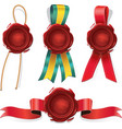 set red wax seals with ribbon and rope vector image