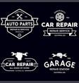Set vintage monochrome car repair service