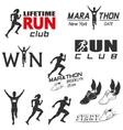 set vintage run club labels vector image