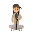 shepherb cute manger with sheeps character vector image