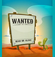 summer mexican desert with wanted wood sign vector image