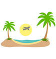 summer vacation tropical island plane in sky sea vector image vector image