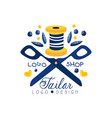 tailor shop logo design sewing company fashion vector image vector image