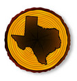 texas map on timber end section vector image vector image