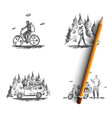 travel - riding bicycle hiking in forest going vector image vector image