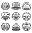 vintage monochrome chess game labels set vector image vector image