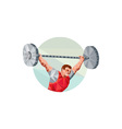 Weightlifter Lifting Barbell Circle Low Polygon vector image vector image