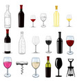 wine set glasses and bottles sketch and 3d vector image