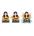 woman holding mobile phone while driving car vector image vector image