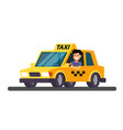 yellow taxi car vector image vector image
