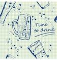 Beer mug pattern in hand drawn sketch style vector image