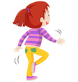 Back of a girl hopping vector image vector image