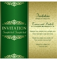 Baroque invitation gold and green vector image vector image