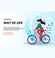 beautiful woman riding a bicycle vector image
