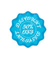 bright blue retro 50 percent discount badge sign vector image
