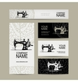 Business cards design sewing maschine sketch vector image