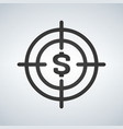 business goals concept with money in crosshair vector image vector image