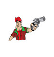 cartoon a man holding gun in hand vector image