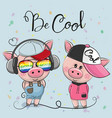 cartoon pigs boy and girl in caps vector image vector image