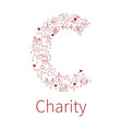 charity banners from capital letter shape vector image vector image
