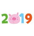 chinese calendar symbol of 2019 year yellow pig vector image vector image