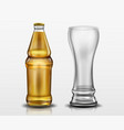 clear bottle with beer and empty tall glass vector image vector image