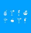 cocktail icon blue set vector image