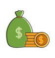 color money inside bag with peso symbol and coins vector image