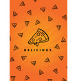 creative pizza icon pattern on an orange gradient vector image vector image