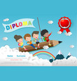diploma template for kids certificates children vector image vector image