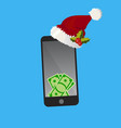 dollars on smart phone screen vector image vector image