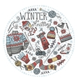 Doodle winter knittingCircle compositionColored vector image