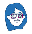 face woman smiling character with blue hair vector image vector image