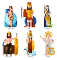 Flat Color Olympic Gods Icons Set vector image vector image
