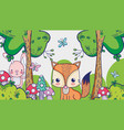 fox in the forest doodle cartoons vector image vector image