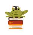 frog in graduation cap sitting on a pile of books vector image vector image