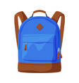 front view blue backpack with front zippered vector image vector image