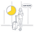 girl with suitcase stands and looks at the vector image