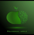 half a polygonal green apple with a poly leaf a vector image