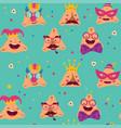 happy purim carnival with funny hamantashen vector image