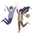 happy young romantic couple greet and running vector image vector image