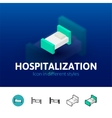 Hospitalization icon in different style vector image