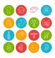 Human Organs Thin Lines Icon Set vector image