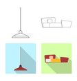 isolated object of furniture and apartment icon vector image vector image
