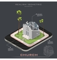 isometric realistic Church on Earth vector image
