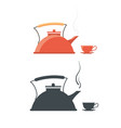 kettle with a cup vintage teakettle vector image vector image