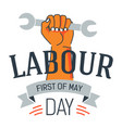 labour day icon hand holding wrench may holiday vector image
