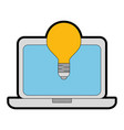 laptop computer with bulb vector image