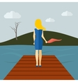 Lonely Girl Flat vector image vector image