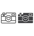 love camera line and glyph icon vector image